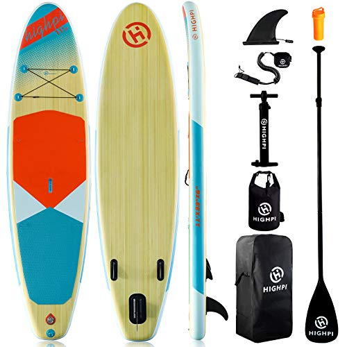 Highpi Inflatable Stand Up Paddle Board 11#039x33#039#039x6#039#039W Premium SUP Accessories amp Backpack Wide Stance Surf Control NonSlip Deck Leash Paddle and Pump Standing Boat for Youth amp Adult
