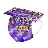 AmyGline 2021 Happy New Year Mundschutz mit Motiv,50 Stück Einweg,3-lagig Mund-Nasen-Schutz,Multifunktionstuch Halstuch Bandana für Erwachsene