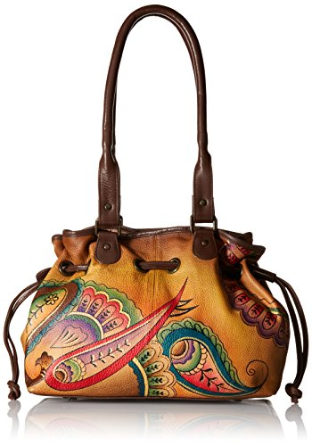 Anna by Anuschka Genuine Leather Draw-String Tote Handbag | Hand-Painted Original Artwork | Royal Paisley