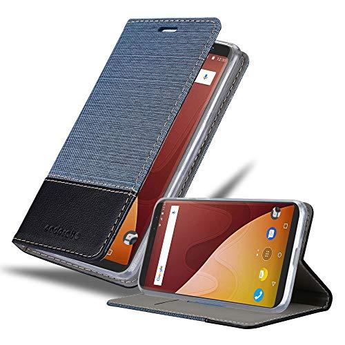 Cadorabo Hülle für WIKO View Prime in DUNKEL BLAU SCHWARZ - Handyhülle mit Magnetverschluss, Standfunktion und Kartenfach - Case Cover Schutzhülle Etui Tasche Book Klapp Style