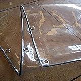 NIANXINN Lona Impermeable Transparente,Resistente PVC Suave 0.3mm Toldo Transparente Patio Polvo Lluvia Cortina de Lona,para Jardín Exterior Cubierta,con Ojales,Personalizable (1.2x3m/4x10ft)