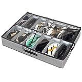 Tosoda Organizador de Zapatos Debajo Cama Zapatero de Compartimentos Ajustables para 12 Pares de Zapatos con Ventana Transparente y Asas Reforzadas (90 x 60 x 15 cm)