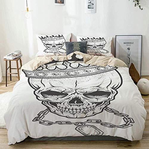 Duvet Cover Set Beige,Sketchy Skull with Crown Hip Hop Street Style Necklace Chain Gem Image Print,Decorative 3 Piece Bedding Set with 2 Pillow Shams Easy Care Anti-Allergic Soft Smooth
