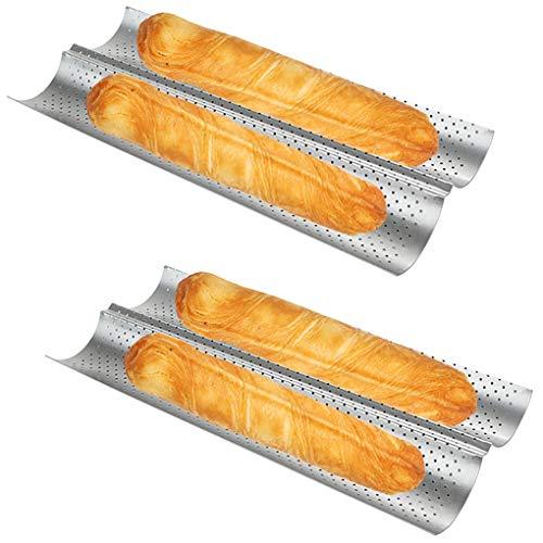 Baguette Pan 2 PCS Bread Pan Baguette Pans for Baking Bread Pans for Baking French Bread Loaf French Bread Pan Nonstick French Baguette Pans (15' x 6.3')