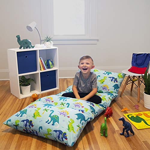 Wildkin Kids Pillow Lounger for Boys and Girls, Travel-Friendly and Perfect for Sleepovers, Requires 4 Standard Size Pillows (Not Included), Measures 69.5 x 27 Inches, BPA-Free (Dinosaur Land)