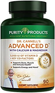 Dr. Cannell's Advanced D with Calcium & Magnesium | Purity Products | Packed with Magnesium, Magnesium Citrate, Zinc, Boron, Taurine | Bone Density Support with Vitamin D* | 90 Tablets