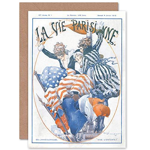 Artery8 La Vie Parisienne WW1 Allies 1919 Magazine Cover Sealed Greeting Card Plus Envelope Blank Inside París Portada de la Revista Cubrir