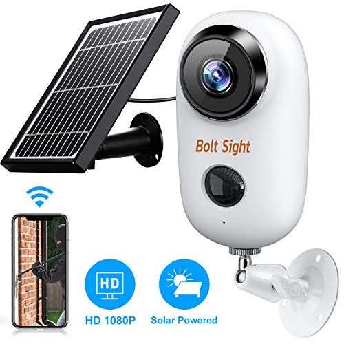 Outdoor Wireless Security Camera - Solar Cameras Battery Powered for Home - HD 1080P Rechargeable Power Operated Outside Camaras,Wirefree House Video Surveillance CCTV System 2-Way Audio,Night Vision
