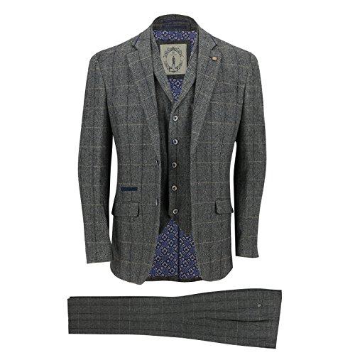 Cavani Herren 3 Stück Tweed Anzug Weinlese mit Fischgrätmuster Grau Überprüfen Sie Retro taillierte Jacke, Weste, Hose[SUIT-ALBERT-GREY-42]