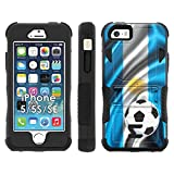 iPhone SE | 5 | 5S Phone Cover, Argentina Flag with Soccer Ball- Flak Jacket Dual Armor with Kick-Stand for [iPhone SE | 5 | 5S] with [Kickstand and Holster]