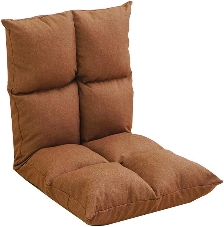 Single Floor Chair, Balcony Bedroom Lazy Sofa, Fabric Folding Chair, Adjustable Angle (color   Brown)