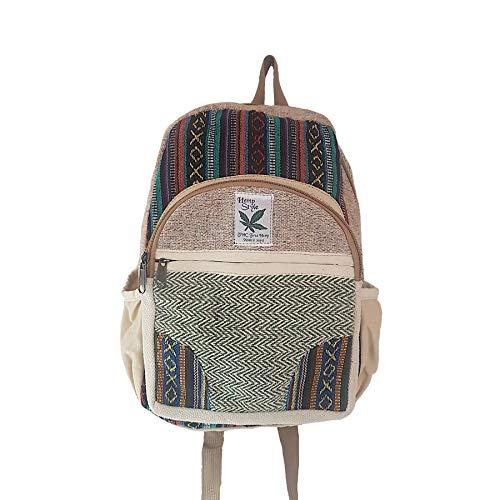 HempStyle Zepto Small Hemp Backpack - Himalayan Hemp Backpack Rucksack