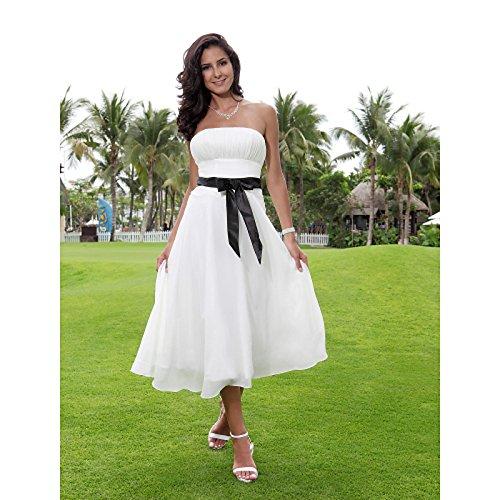 kekafu A-Line Schatz asymmetrische Brautjungfer Chiffon Kleid mit Perlenstickerei Raffung durch LAN TING Braut, Elfenbein, US2/UK6/EU32, Klee