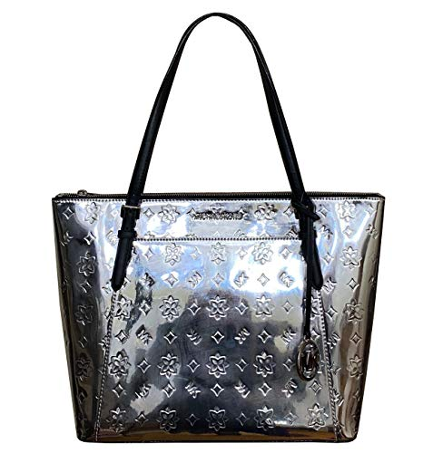 Leather with Shiny Mirror Metallic Finish Monogram and medallion on front Top Zip Closure; Fully Lined Exterior-1 Back pocket Interior- 1 zipper pocket and 2 slip pockets Dimensions: 12.5-16''(L) X 11.5''(H) X 5''(D); Double handles with 10'' drop