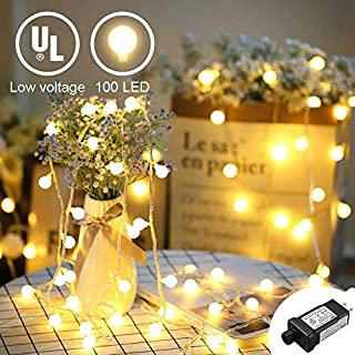 YMing Indoor String Lights, 33FT Christmas Decor Fairy Globe Lights Plug in with 100 LED Frosted Balls for Indoor and Outdoor Use, 29V Low Voltage, IP44 Waterproof, Warm White