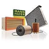 Original MANN-FILTER Wartungspaket aus 1x Luftfilter C 35 154, 1x Kraftstofffilter PU 825 x, 1x Innenraumfilter CUK 2939 und 1x Ölfilter HU 719/7 x - Für PKW