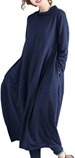 KOOLLE ワンピース チュニック レディース 大きいサイズ マキシワンピース 長袖 ロング ワンピース 体型カバー Aライン ゆったり カジュアル 着痩せ 無地 秋 冬