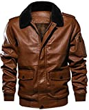 HOKAMI Men's Lapel PU Leather Jacket with Pocket Winter Tactical Outwear Coat