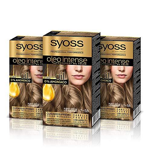 Syoss Oleo Intense - Tono 7-58 Rubio Arena (Pack De 3) – Coloración permanente sin amoníaco – Resultados de peluquería – Cobertura profesional de canas