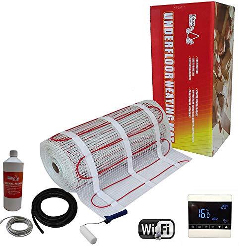 Nassboards Premium Pro - Elektrischer Fußbode Heizset Fußbodenheizung 200w - 2m2 - Weißer Kabelloser WiFi-Thermostat