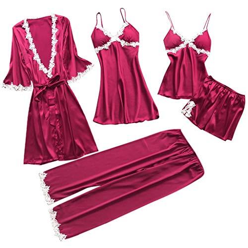 TIFIY Sexy Conjuntos Cinco Vestido Mujer Erótico Lace Talla Grande Lenceria Babydoll Interior Ropa de Dormir Floral de Encaje Cuello en V Camisión Pijama