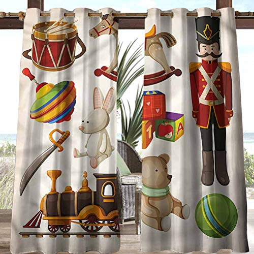 Anmaseven Kids Polyester Fashion Curtains for Pavilion/Porch/Yard/Cabin Wooden Toy Rocking Horse Drum 108' W by 96' L(K274cm x G243cm)