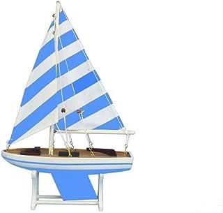 "Hampton Nautical 12"" Floating Wooden It Floats Blue Prince Model Sailboat"