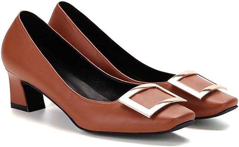 AJUNR Femmes Loisirs 5 Cm Talons Hauts Femme Printemps Unique Moyen Et Faible des Talons De Chaussures