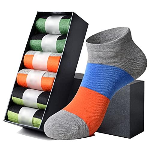 LJMG Calcetines de Deporte 6 Pares De Calcetines De Hombre Multicolor, Calcetines De Algodón Que Absorben La Humedad, Calcetines Transpirables Primavera Y Verano (Color : Multicolor, Size : One Size)