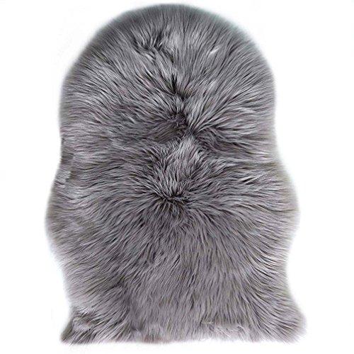 JXLOULAN Spitzenqualität Lammfellimitat Teppich, 60 x 90 cm Lammfellimitat Teppich Longhair Fell Nachahmung Wolle Bettvorleger Sofa Matte (Grau)