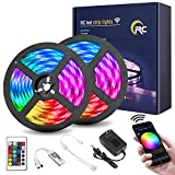 RC Led Strip Lights, 32.8ft WiFi Led Light Strip 5050 RGB Led Strip Lights with Remote, App Control, 16 Million Colors, Timing, Music Sync, Color Changing LED Lights for Bedroom Kitchen, Party, TV