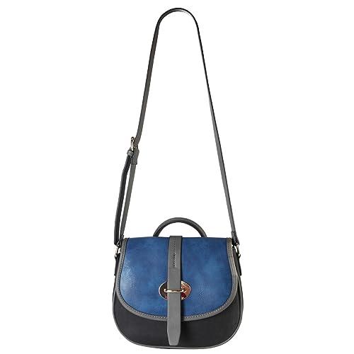 59bbb297d1e1 Diophy High Quanlity PU Leather Three Tone Cross Body Saddle Bag Top Handle Womens  Purse Handbag