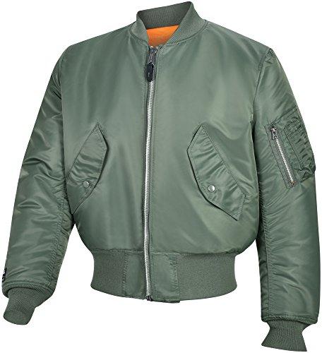 Valley Apparel LLC Made in USA Men's MA-1 Nylon Flight Jacket, Sage Green, XL