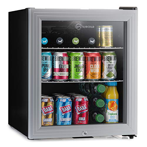 Subcold Super50 LED – Mini Fridge | 50L Beer, Wine & Drinks Chiller | LED Light + Lock & Key | Energy Efficient (Silver)