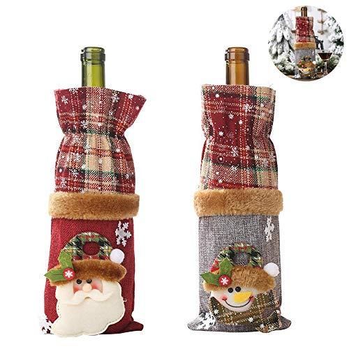 2 Pezzi Coperchio Della Bottiglia di Vino di Natale,Borsa per Vino di Natale,per la Cena a Casa Decorazione per feste Decorazioni per la Tavola Ornamenti Regalo di Natale