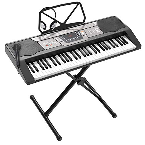 LAGRIMA LAG-350 61 Key Portable Electric Keyboard Piano w/Built In Speakers, Digital Display, Microphone, Headphone, Power Supply, Recording, Music Stand, X Stand for Beginner (Kid & Adult) Black