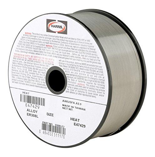 HARRIS 0308LF5 308L Welding Wire, Stainless Steel Spool, 0.035