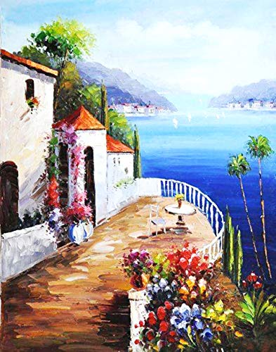WTTOKMPE DIY 5D Full Diamond Painting Kit Diamond Art Kits for Adults Paint with Diamonds Kits Diamonds Embroidery by Numbers (Seaside Courtyard)
