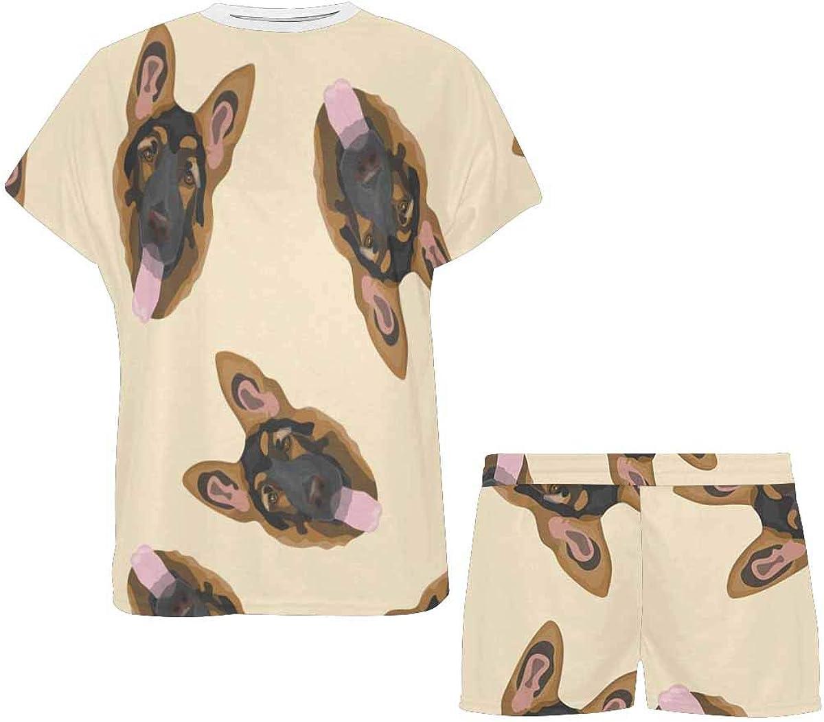 InterestPrint German Shepherd Women's Pajamas Short Sets Round Neck Short Sleeve Sleepwear