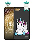 Sunrive Funda para Honor 4C/Huawei G Play Mini, Silicona Mate Funda Slim Fit Gel 3D Carcasa Case Bumper de Impactos y Anti-Arañazos Espalda Cover(W1 Unicornio 2) + 1 x Lápiz óptico