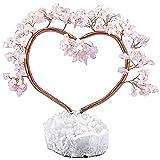 KYEYGWO Árbol de cuarzo rosa curativo de cristal sobre cristal de roca natural, base de cuarzo especial, árbol de dinero, feng shui, bonsái, decoración para casa, boda, buena suerte y riqueza