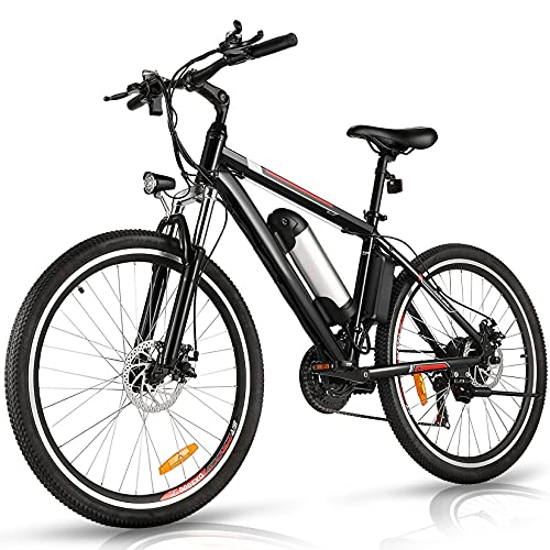 Aceshin 26'' Electric Bike, Electric Bicycle with 36V 8Ah Removable Large Capacity Lithium-Ion Battery, 250W Motor and Professional 21 Speed Gear (Black)