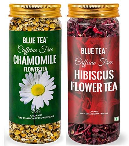 BLUE TEA-Immunity Tea combo | Chamomile Flower Tea - 30g & Hibiscus Flower Tea- 50g - Combo Pack | Caffeine Free Herbal Tea | 80g - 100 Cups I