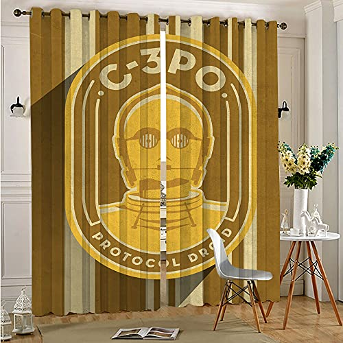 STTYE Thermal Insulated Curtains Star Wars Badges C-3Po Room Darkened Curtain Grommet Window Drapes Covering 140cmx250cm x 2 pcs
