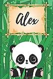 personalisiertes Notizbuch Panda / Malbuch / Kritzelbuch / Tagebuch / Journal / Notizheft / DIN A5 / Geschenke Alex: individuelles personalisiertes ... & Geburtstags Geschenk für Frauen und Männer.