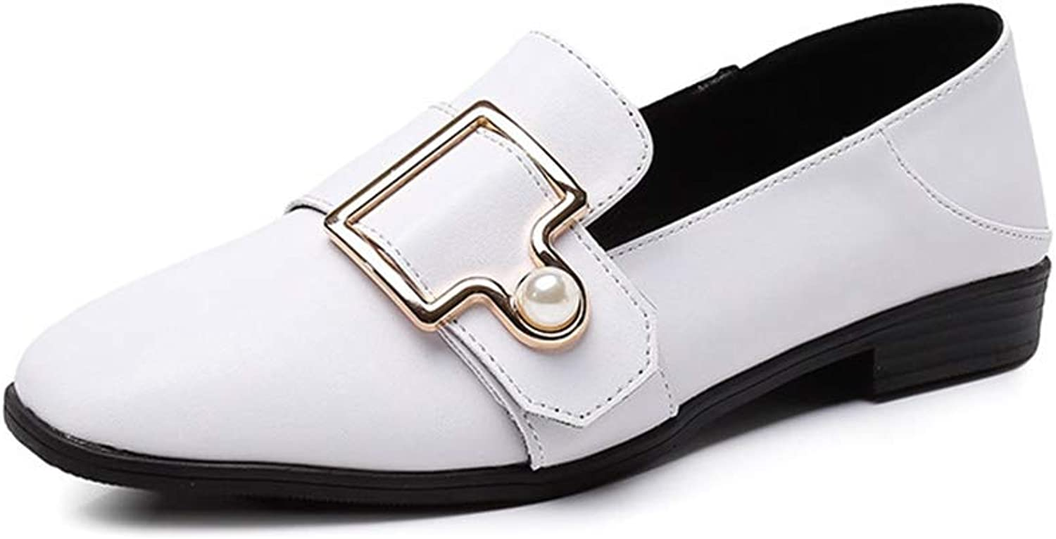T-JULY Women's Fashion Metal Buckle Chunky Low Heel Flat Loafers Rhinestone Slip-on Two Method Wear Pumps shoes