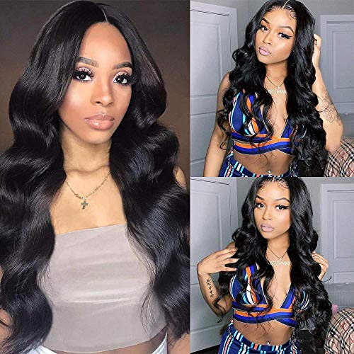 Lace Front Wigs Human Hair Body Wave Wig for Black Women 150% Density Brazilian Remy Virgin Hair with Baby Hair Swiss Lace Natural Color Hair (12inch Body Wave Wigs)