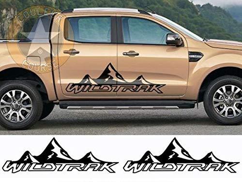 myrockshirt Seitenstreifen Set beidseitig kompatibel für Ford Ranger Wildtrak Berge Schriftzug ca.180cm Aufkleber,Sticker,Decal,Autoaufkleber,UV&Waschanlagenfest,Profi-Qualität