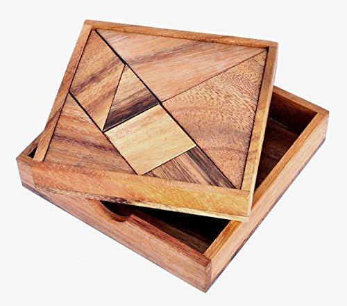 LOGICA GIOCHI, Art. Tangram - 100 Puzzles EN 1 - Puzzle Inteligente de Madera