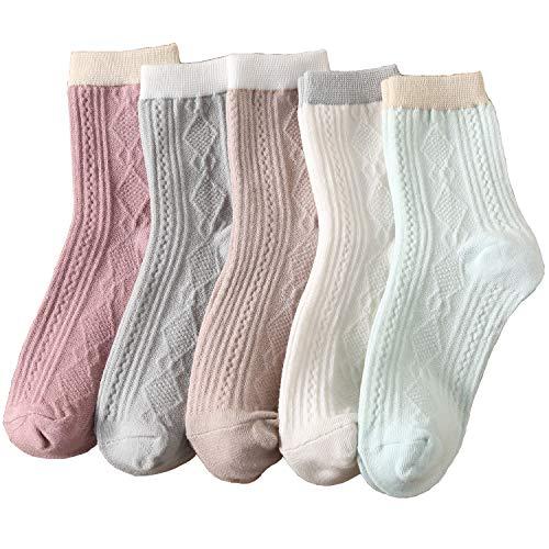 2021靴下レディース かわいい 靴下 上質な コットンソックス 靴下セット カラフルなデザイン5足组 (LX)
